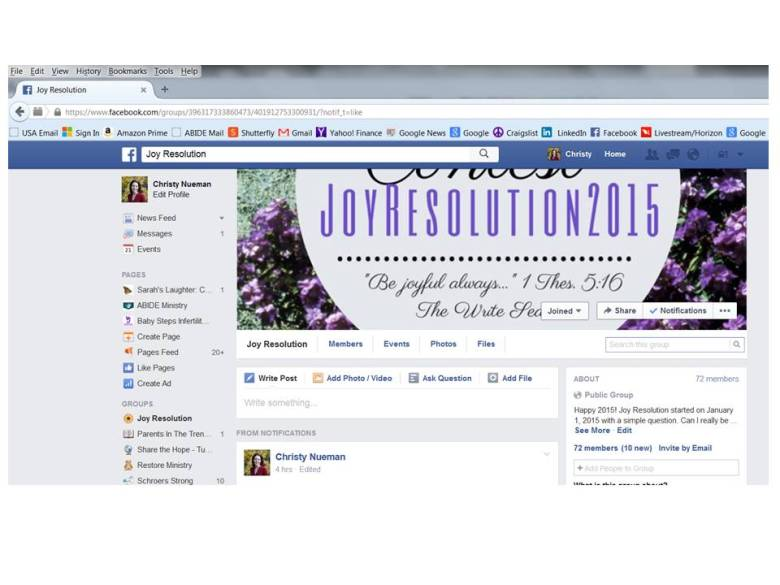 Joy Resolution Facebook Screenshot